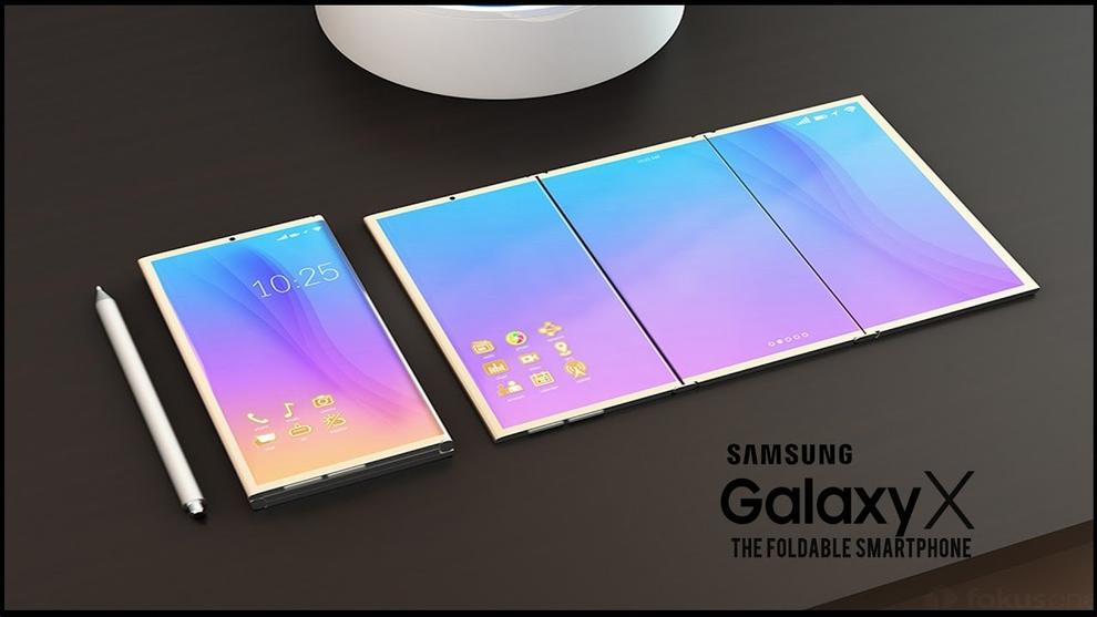 Samsung muestra la patente de un teléfono plegable.