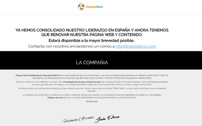 Diseño web página en mantenimiento Finanze Fenix