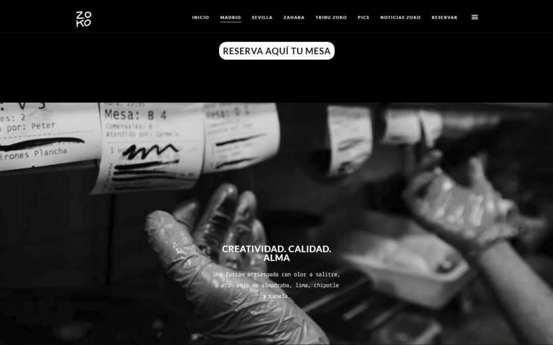 Trabajo de Diseño Web y programación para la web del Restaurante Zoko
