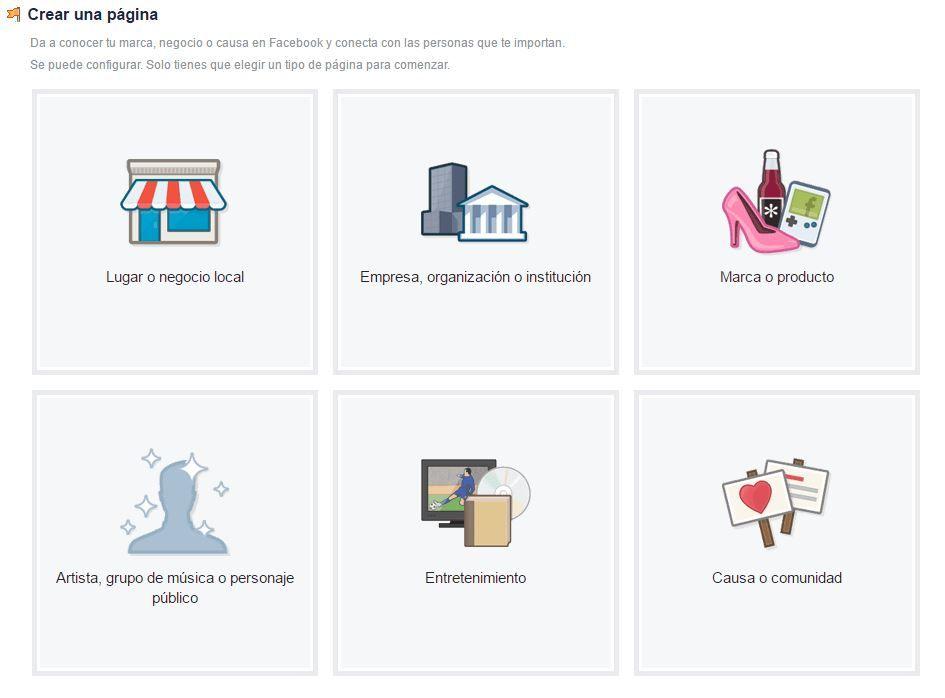 elegir tipo negocio facebook