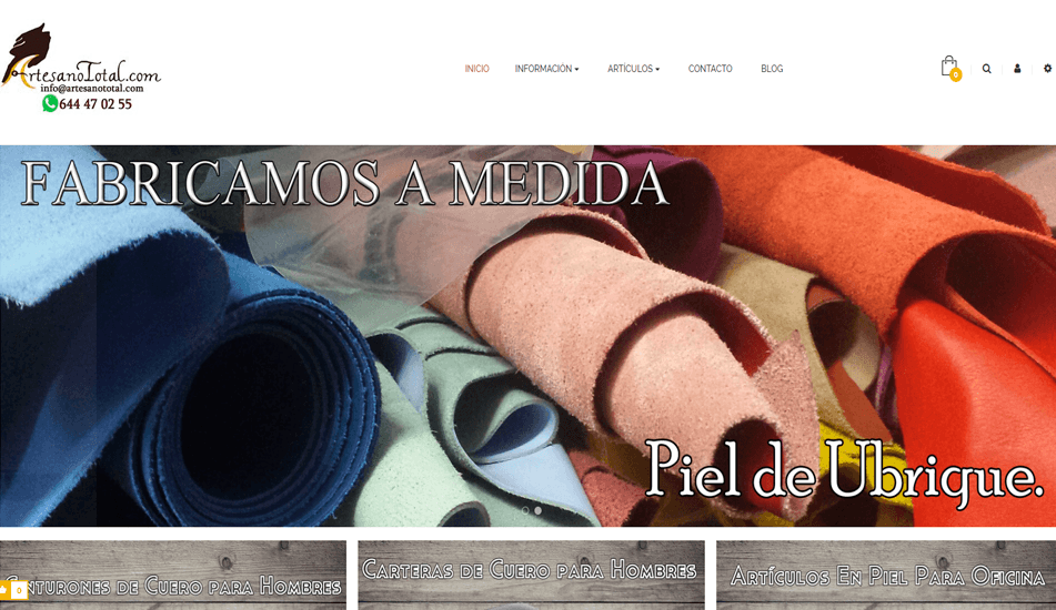 Diseño de Tienda Online creada con Prestashop para Artesano