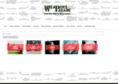 Diseño Página Web Buscador para Weapons Parade